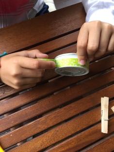 forramos la lata con washitape